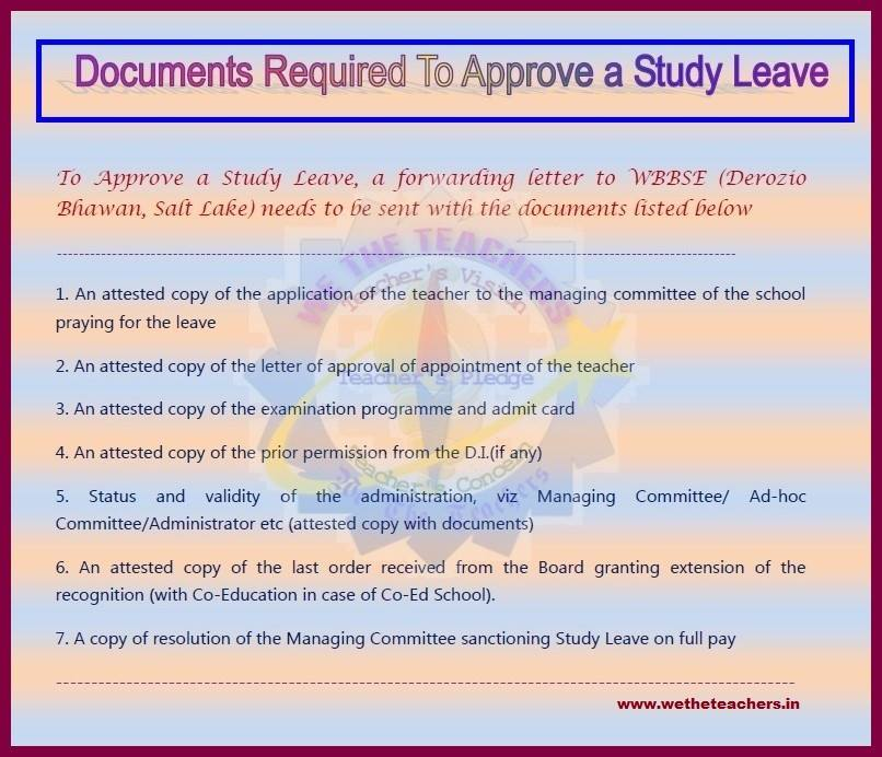 Leave rules we the teachers pay leave list of documents required for approval of study special leave wbbse permission letter sample spiritdancerdesigns Gallery